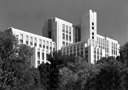 Exterior black and white photograph of USC Medical Center, architectural photography by Tony Sanders