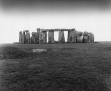 Black and white photograph of Stonehenge monument, Salisbury, England, landscape photography